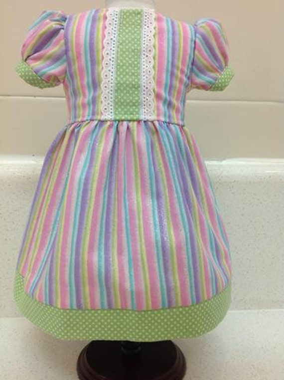 Pastel Striped Dress American Made 18 Inch Doll Clothes