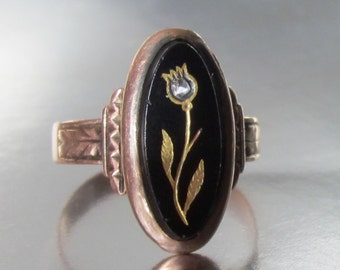 Antique Victorian Rose of Sharon Onyx Flower Engagement Ring Rose Gold 10K. Gothic Engagement Ring