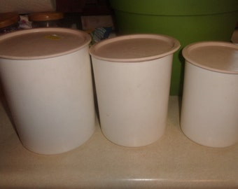 vintage tupperware canister set pink white 6 piece