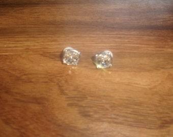 vintage clip on earrings silvertone swarovski crystal
