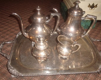 vintage silverplate tea coffee set large footed tray silver on copper large heavy