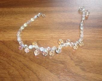 vintage necklace choker aurora borealis glass