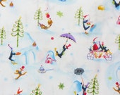Christmas Fabric,  More Merriment, Paper dArt,  Santa, Penguins, Gingerbread Men, Whimsical Style, Dr Seuss Style,  By the Yard