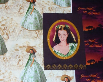 Gone with the Wind Fabric, Scarlett Portrait, Scarlett OHara, Just Scarlett, Green Dress,  3 Fabrics, Margaret Mitchell