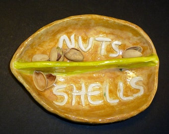 Nut Dish comes with Pistachio Nuts handmade in US from a lump of clay