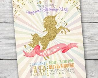 Unicorn Invitation, Unicorn Party Invite, Unicorn Birthday Party Invitation, Unicorn Invitations, Unicorn Invites, PRINTABLE, Unicorn Party