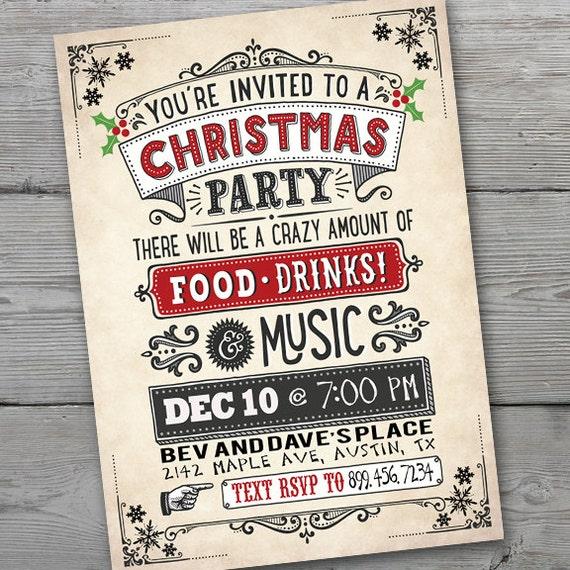 Retro Christmas Party Invitations: Christmas Invitation Vintage Christmas Party Invitation