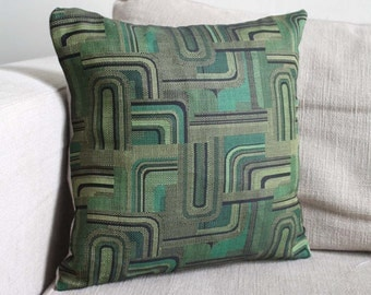 Green Silk and Linen Accent Cushion Cover. Recycled Vintage Kimono and Natural Linen