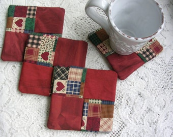 Fabric Drink Coasters Rustic Americana - Wine Glass Coaster Set - Drink Mats - Shabby Cottage Chic Decor - Country Cabin Decor