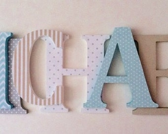 Wooden  letters for nursery in aqua blue, gray and khaki