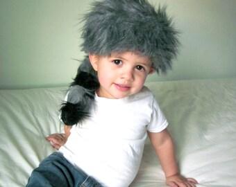 Coon Skin Cap // Davy Crockett Costume // Boy's Adventure Hat // Gray & Black Fur