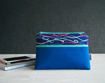 Blue Zipper Pouch - Phone Wristlet - Small Zipper Wallet for Women - Gift for Teen - Purse Organization - Indigo Travel Bag - Ready to Ship