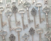 The Bennett Collection - Skeleton Key Assortment in Antique SILVER - Set of 30 Keys - 3 STYLES