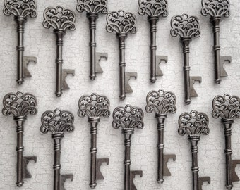 "Skeleton Key BOTTLE OPENERS – Set of 50 – Gunmetal Black – 3"" Long (76mm) –Vintage Style - Create Your Own Wedding Favors! Ships from USA."