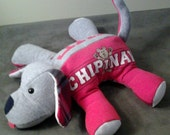 Keepsake stuffed dog, keepsake animal, custom order memory dog, baby clothes stuffed animal, remembrance stuffed animal