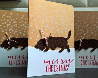 Basset Hound Christmas Cards Set of 4, Basset Hound Gift, Dog Holiday Cards, Merry Christmas Cards, Dog Lover Gift