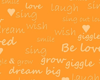 Andover/Makower UK - Text in Orange - Giggle and Grow Collection - Katie Hennagir - By The Yard