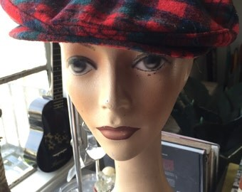 Vintage Red Plaid Pendleton Newsboy Hat Driving Cap Golfers Cap Wool Classic