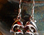 Sterling Silver Dolphin Earrings, Precious Metal Jewelry
