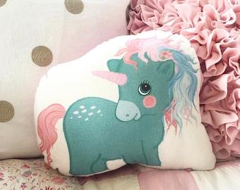Mint Unicorn Shaped Plushie Pillow