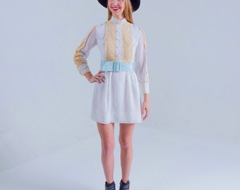 1960's Mini Mod Boho Dress/ White Crocheted Lace Festival Dress