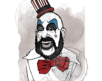 Hand Drawn Captain Spaulding Print- House of a Thousand Corpses, Rob Zombie