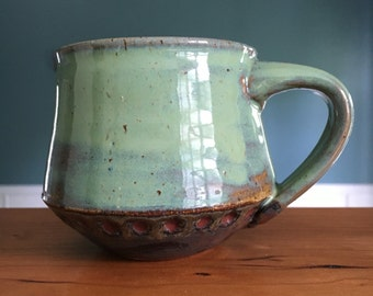 Unique wide mouth green coffee mug