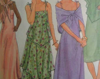 EMPIRE WAIST DRESS Pattern • Butterick 5420 • Miss 12 • Hankie Dress • Fit & Flare • Dress and Capelet • Vintage Patterns • WhiletheCatNaps