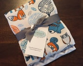 Woodland Animals and Chevron : 2 Burp Cloth Set - Flannel and cloth diaper in navy, gray, blue and orange