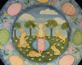 Spring Folk Art Painting Wood Plate -MADE TO ORDER- Easter Egg, Bunnies, Original Spring Scene Primitive Decor, Pastel Colors, Ooak,