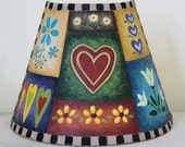 Folk Art Painting Spring Night Light - MADE TO ORDER - Hand Painted Folk Art Hearts and Flowers, Tulips, Valentines Day, Colorful Motifs