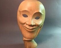 Theatrical Face Mask . Wood Mask.  Carved Mask . Vintage Mask No.001563