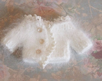 Ooak Custom Fairyland Littlefee YoSD MNF 1/6 BJD Doll Sweater Cardigan White French Angora Vintage Crocheted Lace Buttons