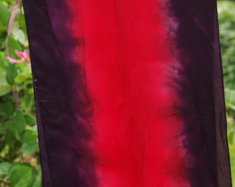 Silk Scarf - Red and Purple Tendrils