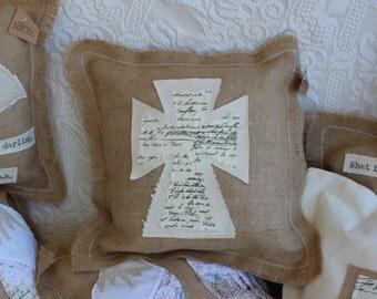 Burlap Pillow with Cross / Rustic decorative throw pillow with cross / accent pillow with vintage style script fabric / shabby chic decor C1