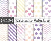 Watercolor Digital Paper, Valentine Digital Paper, Watercolor Texture Scrapbook Paper, Instant Download, Commerical Use