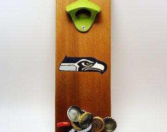 CUSTOM wall mount bottle opener cast iron Seattle Seahawks cedar, magnet cap catcher, NFL