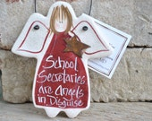 School Secretary Gift Salt Dough Ornament