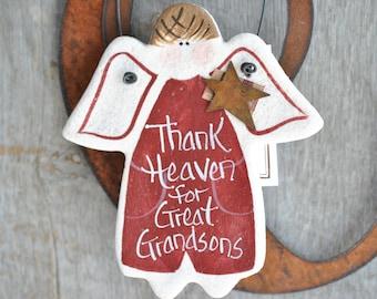Great Grandson Gift Salt Dough Ornament Birthday Christmas Gift
