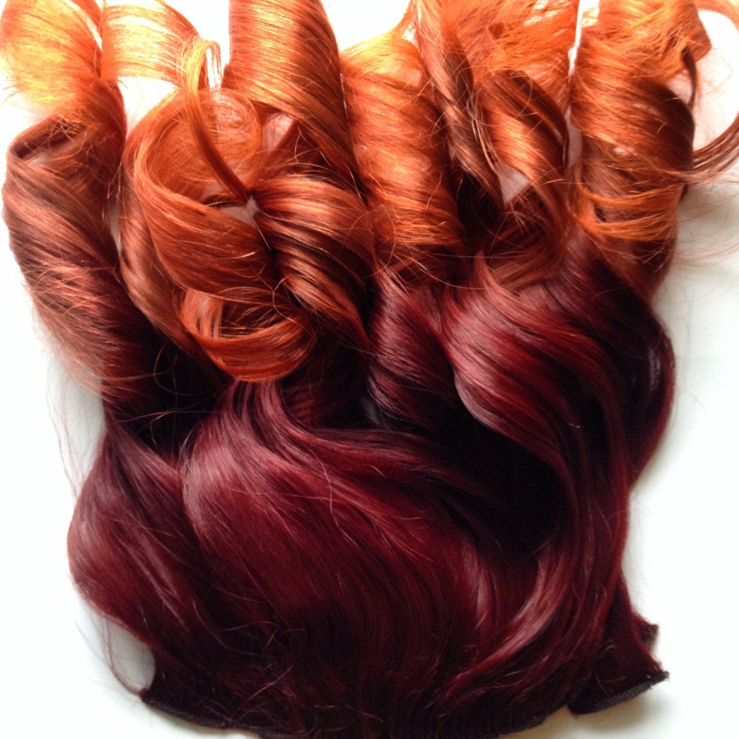 Ombre hair bright red auburn burgundy to gold orange clip fade - Ombre hair marron ...