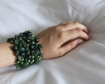 Green hand knitted bracelet