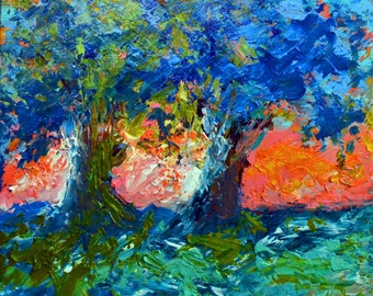 The Guardians  - Original Abstract Oil Painting Landscape Painting by Claire McElveen , 8 x 10