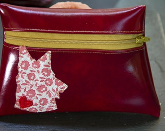 Dog silhouette Red Vinyl pouch
