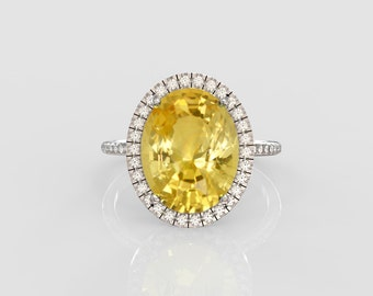 yellow gem gold ring , hiqh-quality 5.12ct Danburite set in 14k white gold and diamonds ring