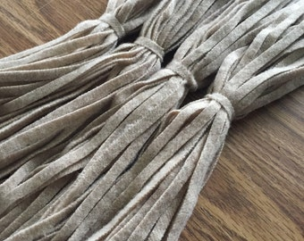 All Oatmeal - 100 #6 OR #8 Sized Primitive Hand Cut Wool Strips for Rug Hooking