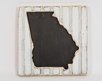 State Wall Art, Wooden Distressed Antique Bead Board