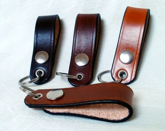 Leather keychain, key fob with snap, detachable leather belt loop keyring,  belt clip