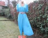 Buttoned Dress Vintage / Viscose / EUR44 / UK16 / Blue