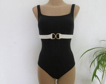 1PC Black Swimsuit Vintage / Size EUR44 / UK16