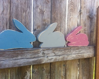 Set of 3 wooden rabbitt shelf sitters